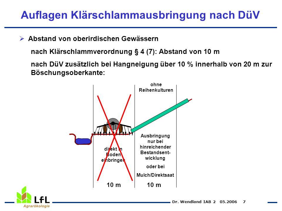 Dr. Wendland IAB 2 05.2006 7 Auflagen Klärschlammausbringung nach DüV Abstand von oberirdischen Gewässern nach Klärschlammverordnung § 4 (7): Abstand