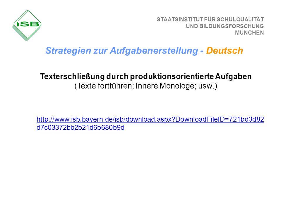 STAATSINSTITUT FÜR SCHULQUALITÄT UND BILDUNGSFORSCHUNG MÜNCHEN Strategien zur Aufgabenerstellung - Deutsch Texterschließung durch produktionsorientier