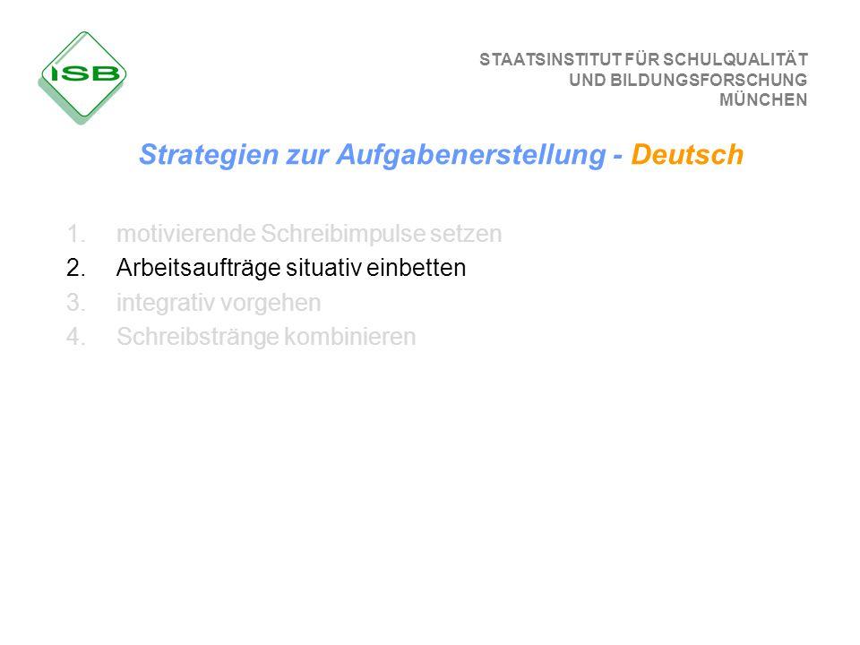 STAATSINSTITUT FÜR SCHULQUALITÄT UND BILDUNGSFORSCHUNG MÜNCHEN Strategien zur Aufgabenerstellung - Deutsch 1.motivierende Schreibimpulse setzen 2.Arbe