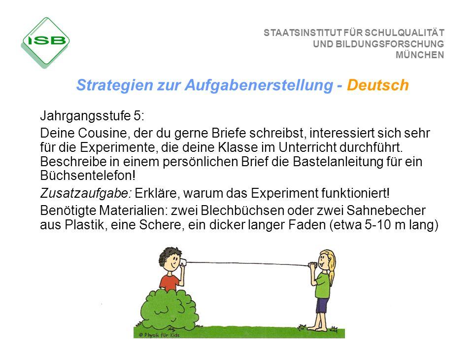 STAATSINSTITUT FÜR SCHULQUALITÄT UND BILDUNGSFORSCHUNG MÜNCHEN Strategien zur Aufgabenerstellung - Deutsch Jahrgangsstufe 5: Deine Cousine, der du ger