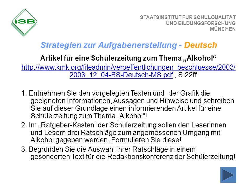 STAATSINSTITUT FÜR SCHULQUALITÄT UND BILDUNGSFORSCHUNG MÜNCHEN Artikel für eine Schülerzeitung zum Thema Alkohol http://www.kmk.org/fileadmin/veroeffe