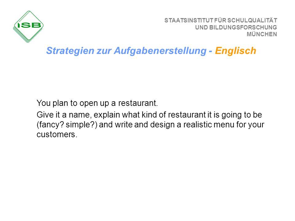 STAATSINSTITUT FÜR SCHULQUALITÄT UND BILDUNGSFORSCHUNG MÜNCHEN You plan to open up a restaurant. Give it a name, explain what kind of restaurant it is