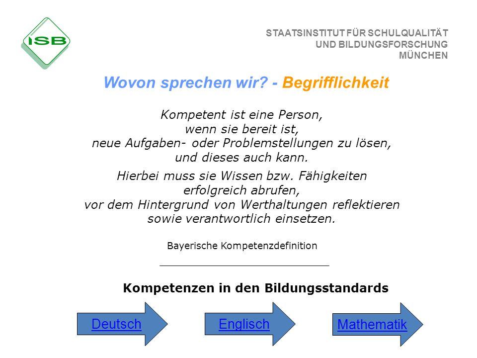 STAATSINSTITUT FÜR SCHULQUALITÄT UND BILDUNGSFORSCHUNG MÜNCHEN Kompetenzen in den Bildungsstandards Mathematik DeutschEnglisch Wovon sprechen wir? - B
