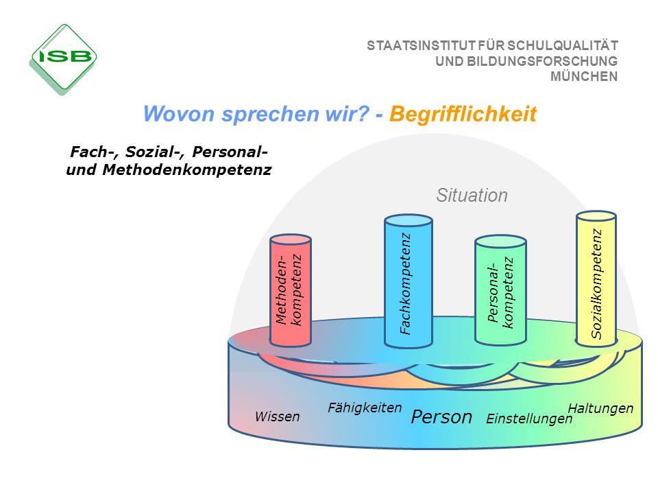 STAATSINSTITUT FÜR SCHULQUALITÄT UND BILDUNGSFORSCHUNG MÜNCHEN Fach-, Sozial-, Personal- und Methodenkompetenz Methoden- kompetenz Fachkompetenz Perso