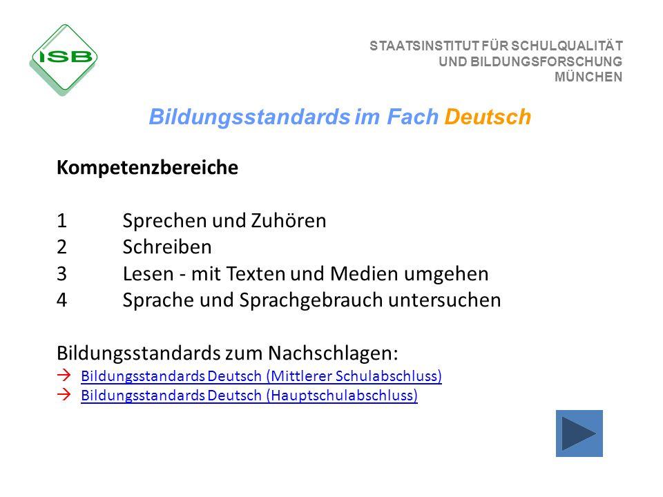 STAATSINSTITUT FÜR SCHULQUALITÄT UND BILDUNGSFORSCHUNG MÜNCHEN Bildungsstandards im Fach Deutsch Kompetenzbereiche 1 Sprechen und Zuhören 2 Schreiben