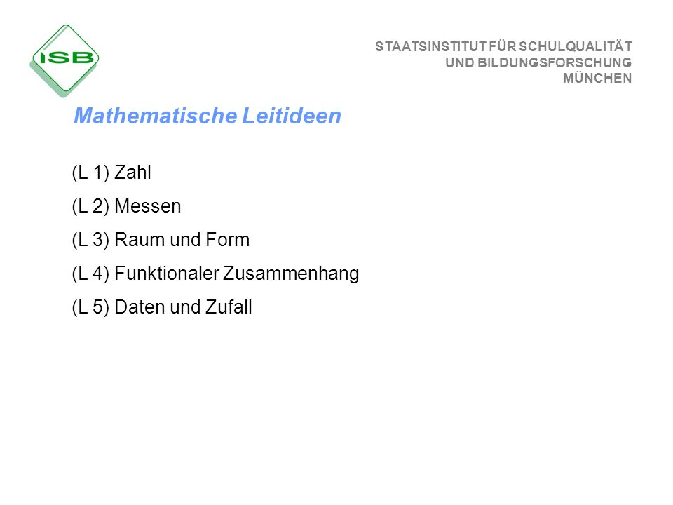 STAATSINSTITUT FÜR SCHULQUALITÄT UND BILDUNGSFORSCHUNG MÜNCHEN (L 1) Zahl (L 2) Messen (L 3) Raum und Form (L 4) Funktionaler Zusammenhang (L 5) Daten