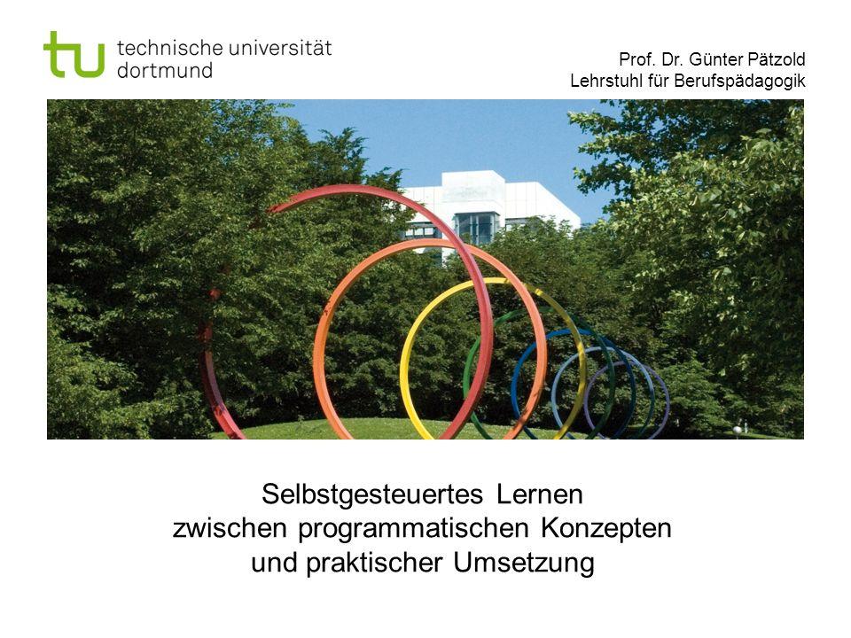 Prof. Dr. Günter Pätzold Lehrstuhl für Berufspädagogik Selbstgesteuertes Lernen zwischen programmatischen Konzepten und praktischer Umsetzung