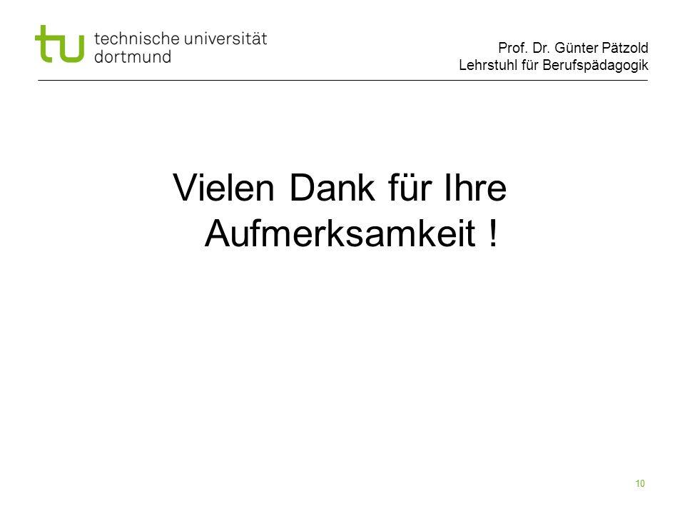 Prof. Dr. Günter Pätzold Lehrstuhl für Berufspädagogik 10 Vielen Dank für Ihre Aufmerksamkeit !