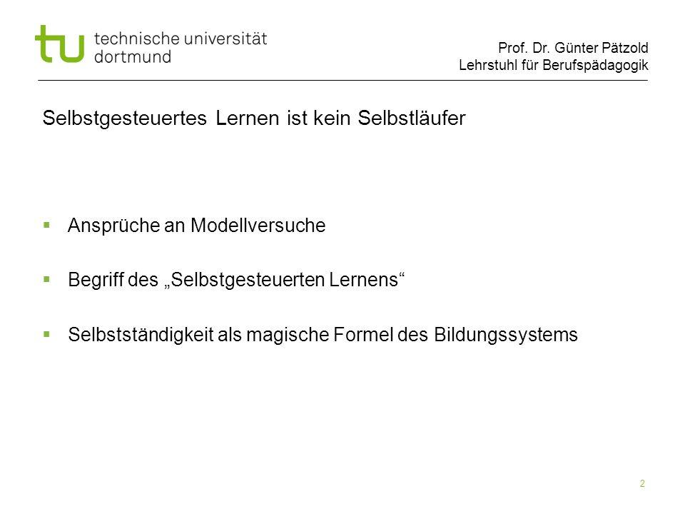 Prof. Dr. Günter Pätzold Lehrstuhl für Berufspädagogik 2 Selbstgesteuertes Lernen ist kein Selbstläufer Ansprüche an Modellversuche Begriff des Selbst