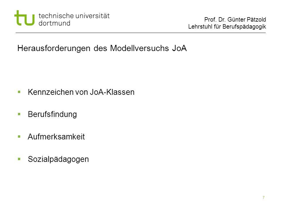 Prof. Dr. Günter Pätzold Lehrstuhl für Berufspädagogik 7 Herausforderungen des Modellversuchs JoA Kennzeichen von JoA-Klassen Berufsfindung Aufmerksam