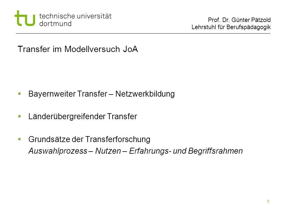 Prof. Dr. Günter Pätzold Lehrstuhl für Berufspädagogik 8 Transfer im Modellversuch JoA Bayernweiter Transfer – Netzwerkbildung Länderübergreifender Tr