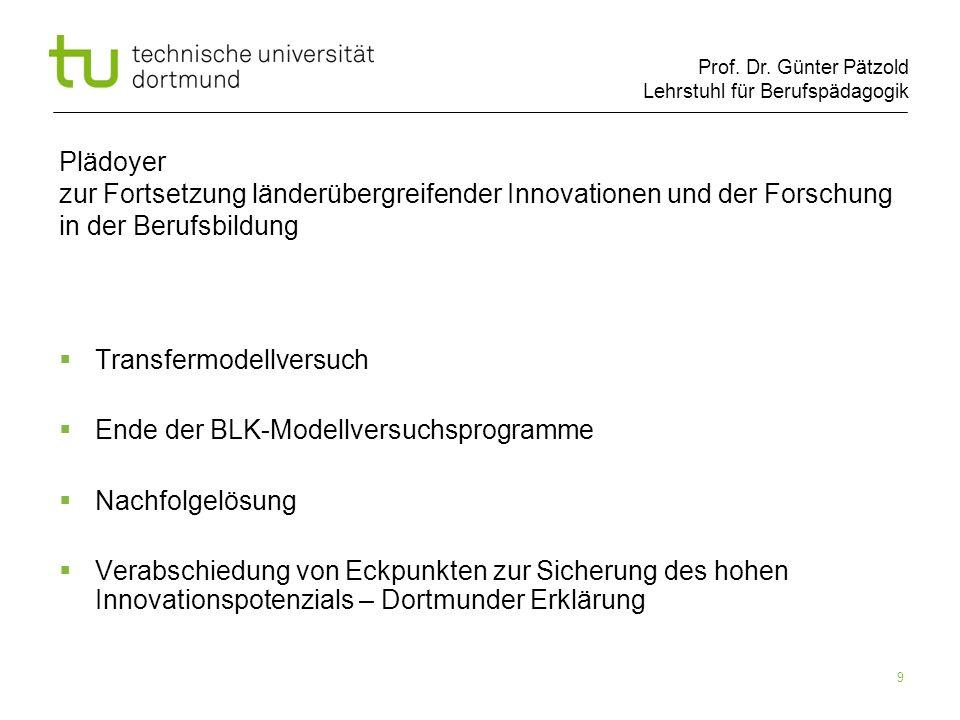 Prof. Dr. Günter Pätzold Lehrstuhl für Berufspädagogik 9 Plädoyer zur Fortsetzung länderübergreifender Innovationen und der Forschung in der Berufsbil