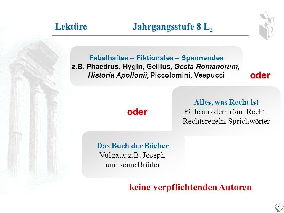Das Buch der Bücher Vulgata: z.B. Joseph und seine Brüder Lektüre Jahrgangsstufe 8 L 2 Fabelhaftes – Fiktionales – Spannendes z.B. Phaedrus, Hygin, Ge