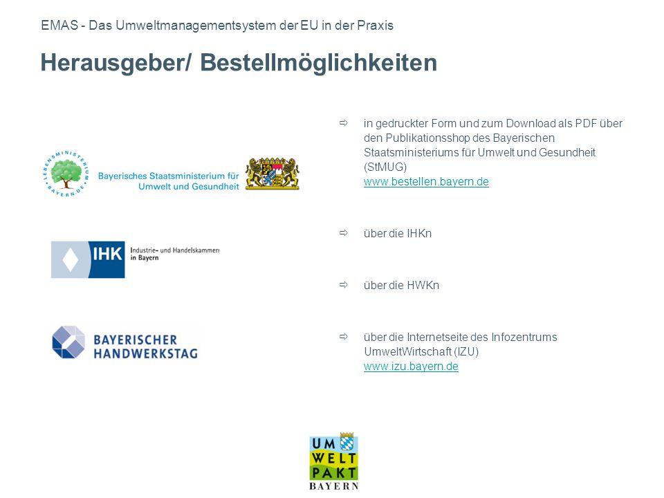 EMAS - Das Umweltmanagementsystem der EU in der Praxis in gedruckter Form und zum Download als PDF über den Publikationsshop des Bayerischen Staatsmin