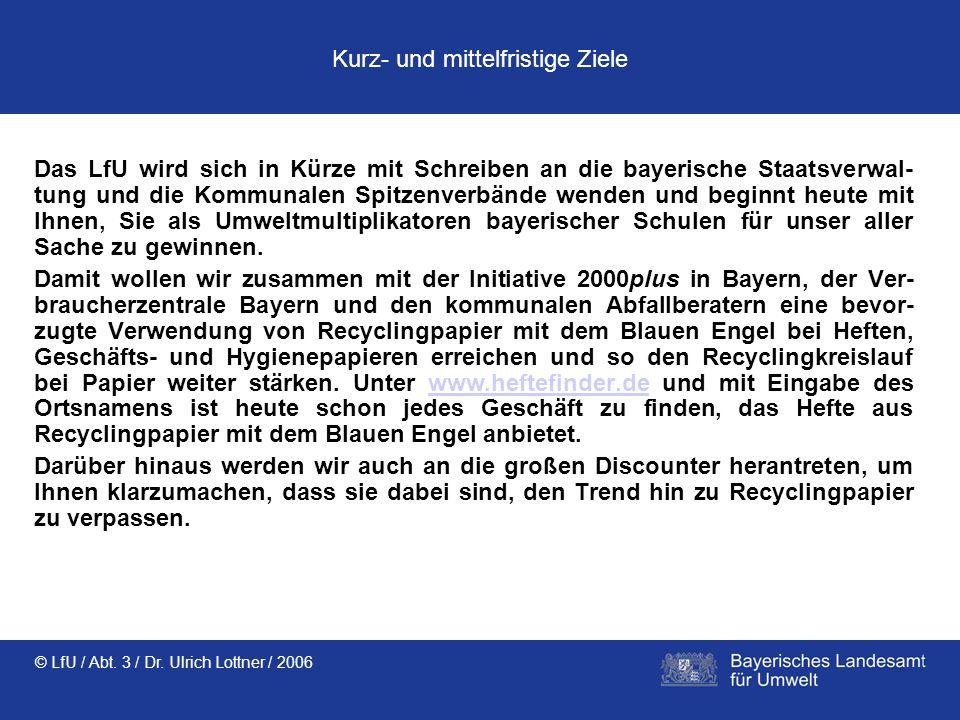 © LfU / Abt. 3 / Dr. Ulrich Lottner / 2006 Kurz- und mittelfristige Ziele Das LfU wird sich in Kürze mit Schreiben an die bayerische Staatsverwal- tun