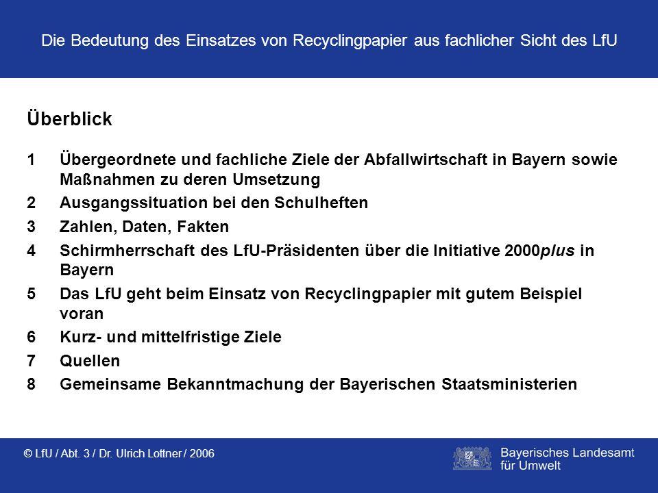 © LfU / Abt. 3 / Dr. Ulrich Lottner / 2006 Die Bedeutung des Einsatzes von Recyclingpapier aus fachlicher Sicht des LfU Überblick 1Übergeordnete und f
