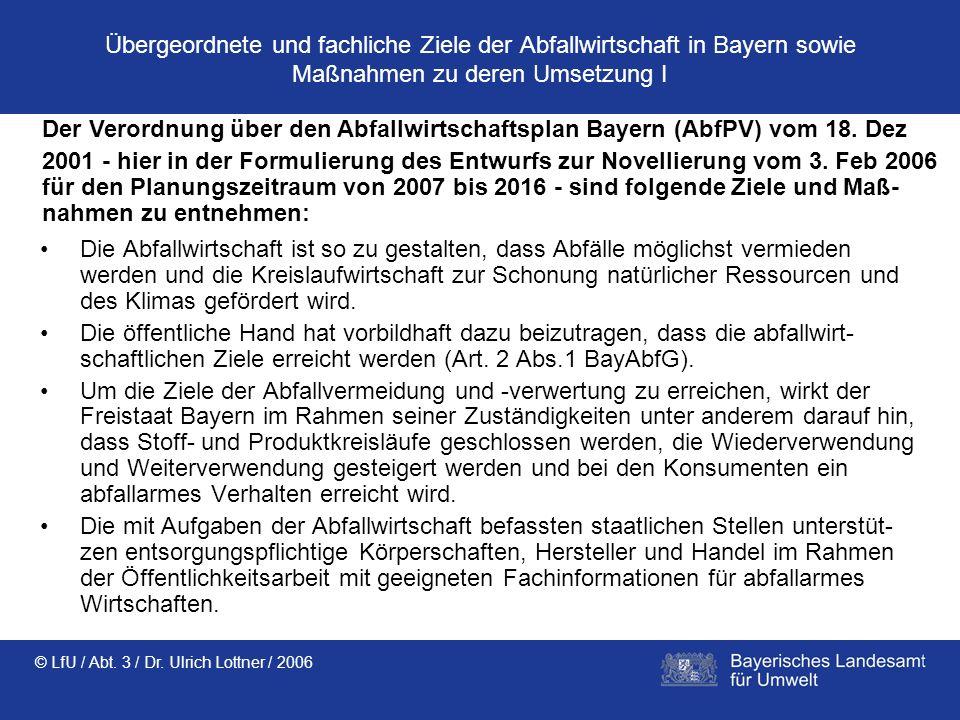 © LfU / Abt. 3 / Dr. Ulrich Lottner / 2006 Übergeordnete und fachliche Ziele der Abfallwirtschaft in Bayern sowie Maßnahmen zu deren Umsetzung I Die A