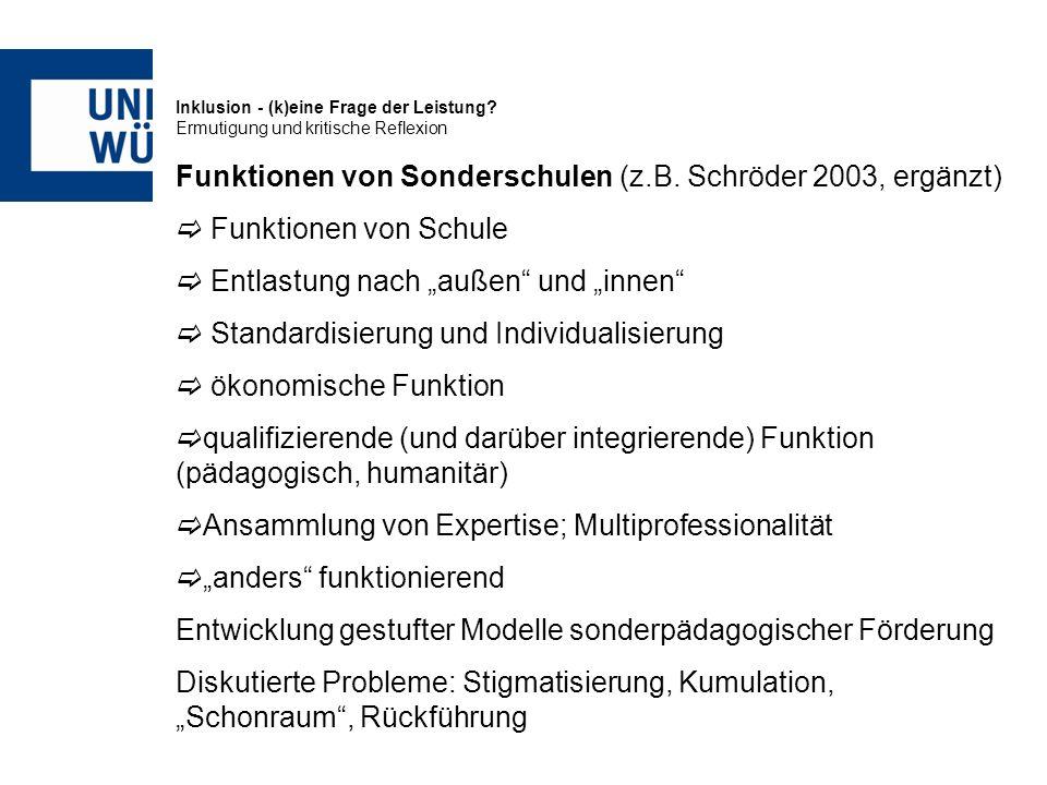 Inklusion - (k)eine Frage der Leistung? Ermutigung und kritische Reflexion Funktionen von Sonderschulen (z.B. Schröder 2003, ergänzt) Funktionen von S