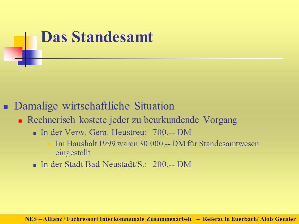 NES – Allianz / Fachressort Interkommunale Zusammenarbeit – Referat in Euerbach/ Alois Gensler Das Standesamt Damalige wirtschaftliche Situation Rechn