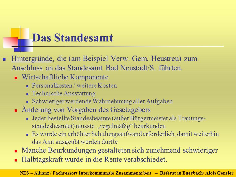 Das Standesamt Hintergründe, die (am Beispiel Verw. Gem. Heustreu) zum Anschluss an das Standesamt Bad Neustadt/S. führten. Wirtschaftliche Komponente