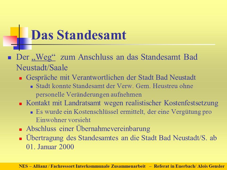 Das Standesamt Der Weg zum Anschluss an das Standesamt Bad Neustadt/Saale Gespräche mit Verantwortlichen der Stadt Bad Neustadt Stadt konnte Standesamt der Verw.