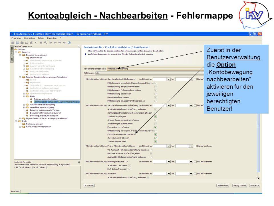 Über Kontobewegung Ist – Buchungen Suche unter Vorgabe des Haushaltsjahres und HKZ und weiter Wichtig: Anordnungsstellennummer vorgeben!