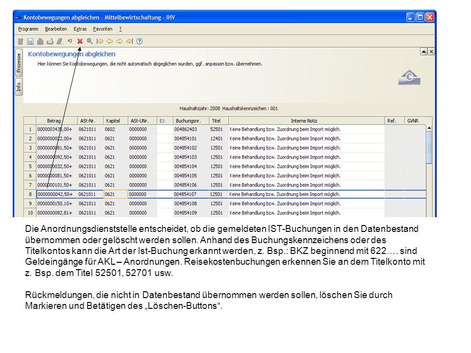 Die Anordnungsdienststelle entscheidet, ob die gemeldeten IST-Buchungen in den Datenbestand übernommen oder gelöscht werden sollen. Anhand des Buchung
