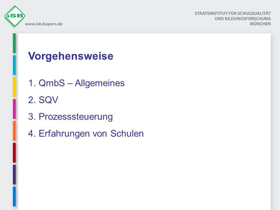 Vorgehensweise 1.QmbS – Allgemeines 2.SQV 3.Prozesssteuerung 4.Erfahrungen von Schulen