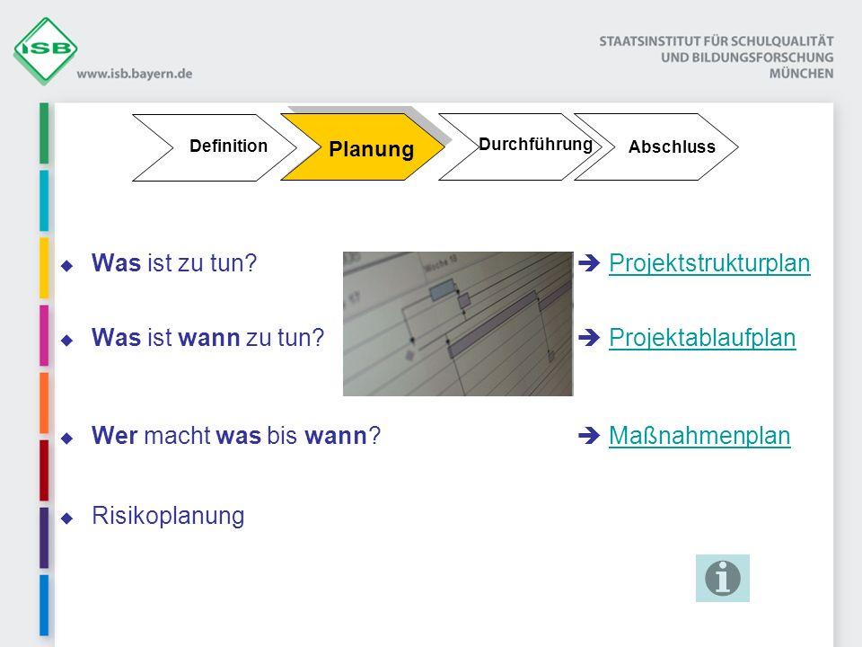 Durchführung Planung Definition Abschluss Was ist zu tun? Projektstrukturplan Projektstrukturplan Was ist wann zu tun? ProjektablaufplanProjektablaufp