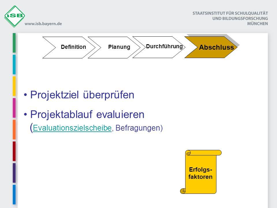 Durchführung Planung Definition Abschluss Projektziel überprüfen Projektablauf evaluieren ( Evaluationszielscheibe, Befragungen) Evaluationszielscheibe Erfolgs- faktoren