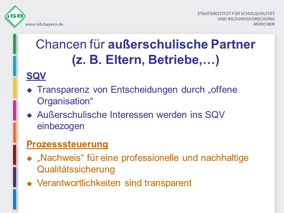Chancen für außerschulische Partner (z. B. Eltern, Betriebe,…) SQV Transparenz von Entscheidungen durch offene Organisation Außerschulische Interessen
