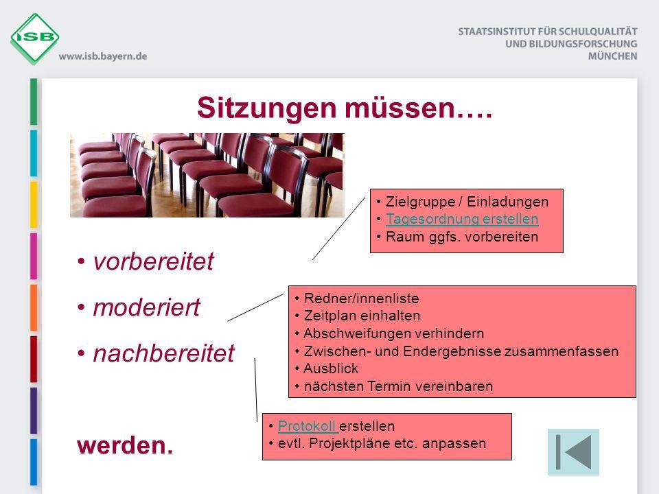 vorbereitet moderiert nachbereitet werden. Sitzungen müssen…. Zielgruppe / Einladungen Tagesordnung erstellen Raum ggfs. vorbereiten Redner/innenliste