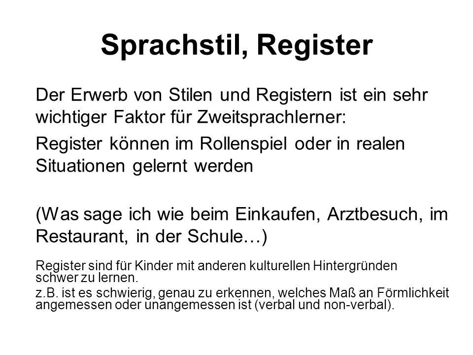 Sprachstil, Register Der Erwerb von Stilen und Registern ist ein sehr wichtiger Faktor für Zweitsprachlerner: Register können im Rollenspiel oder in r