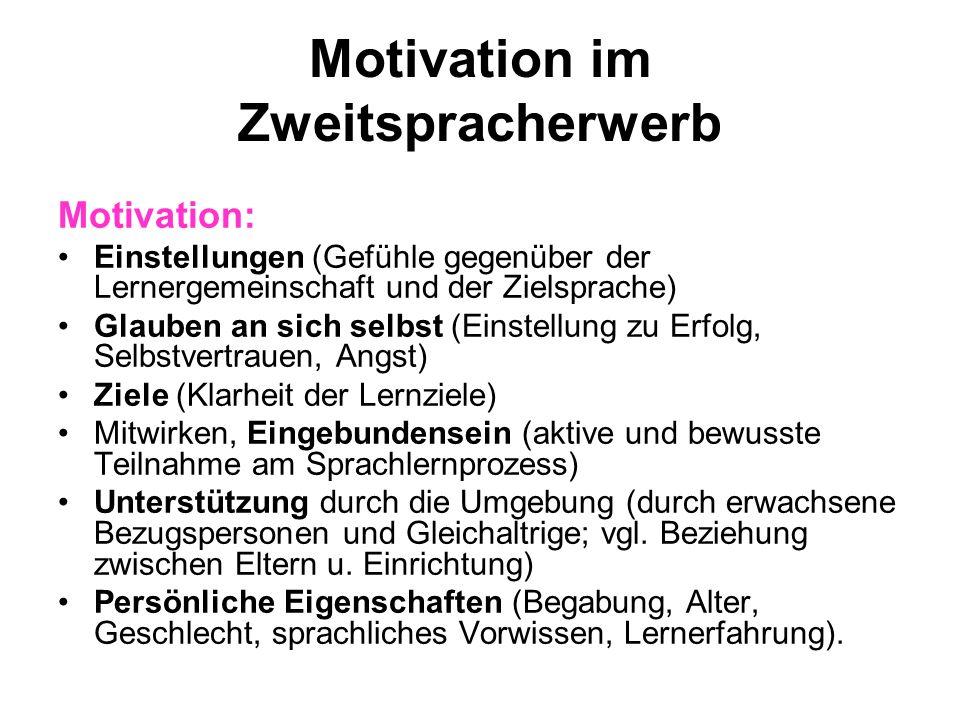 Motivation im Zweitspracherwerb Motivation: Einstellungen (Gefühle gegenüber der Lernergemeinschaft und der Zielsprache) Glauben an sich selbst (Einst