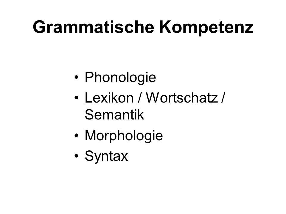 Grammatische Kompetenz Phonologie Lexikon / Wortschatz / Semantik Morphologie Syntax