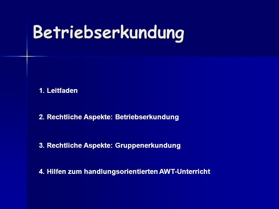 Betriebserkundung 1.Leitfaden 2. Rechtliche Aspekte: Betriebserkundung 3.