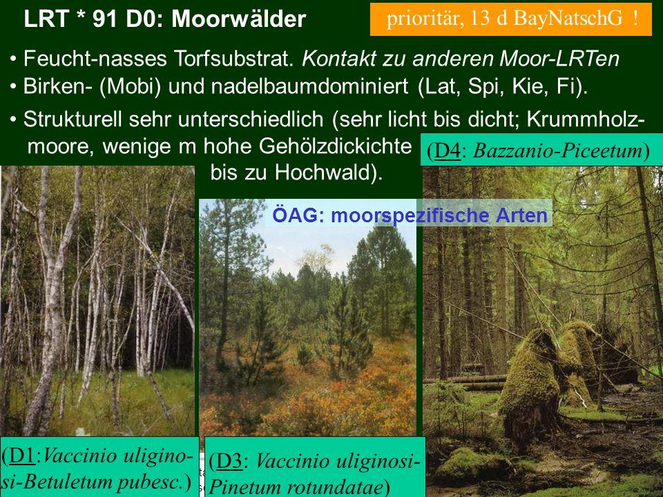 Bayerische Landesanstalt für Wald und Forstwirtschaft LRT * 91 D0: Moorwälder Birken- (Mobi) und nadelbaumdominiert (Lat, Spi, Kie, Fi). Strukturell s