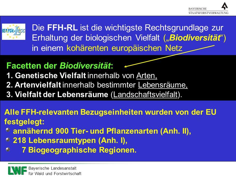 Bayerische Landesanstalt für Wald und Forstwirtschaft Die FFH-RL ist die wichtigste Rechtsgrundlage zur Erhaltung der biologischen Vielfalt (Biodivers