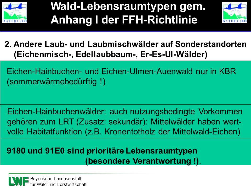Bayerische Landesanstalt für Wald und Forstwirtschaft 2. Andere Laub- und Laubmischwälder auf Sonderstandorten (Eichenmisch-, Edellaubbaum-, Er-Es-Ul-