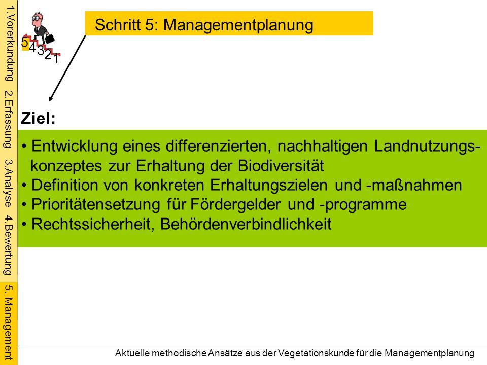 Schritt 5: Managementplanung 1 2 3 4 5 Entwicklung eines differenzierten, nachhaltigen Landnutzungs- konzeptes zur Erhaltung der Biodiversität Definit