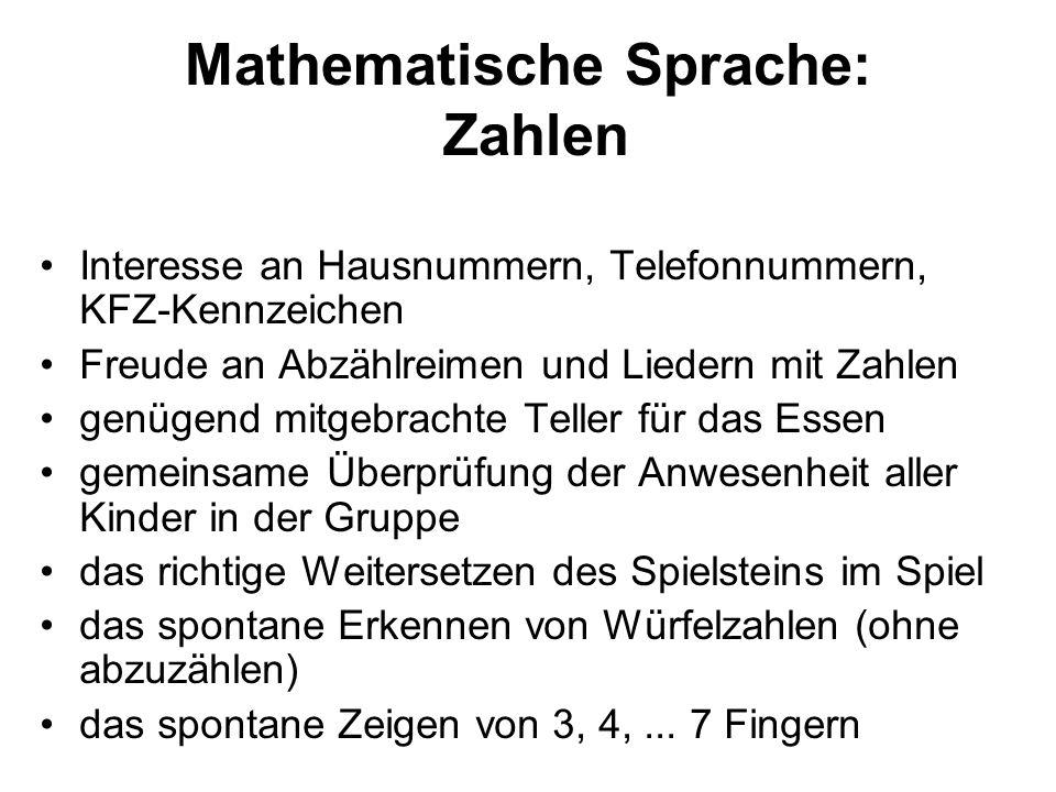 Mathematische Sprache: Zahlen Interesse an Hausnummern, Telefonnummern, KFZ-Kennzeichen Freude an Abzählreimen und Liedern mit Zahlen genügend mitgebr