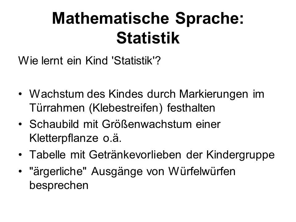 Mathematische Sprache: Statistik Wie lernt ein Kind 'Statistik'? Wachstum des Kindes durch Markierungen im Türrahmen (Klebestreifen) festhalten Schaub