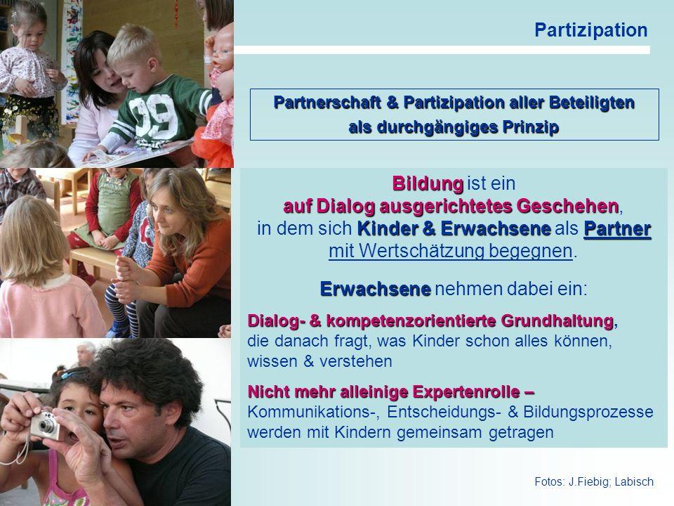 20 Partizipation Bildung Bildung ist ein auf Dialog ausgerichtetes Geschehen auf Dialog ausgerichtetes Geschehen, Kinder & ErwachsenePartner in dem si
