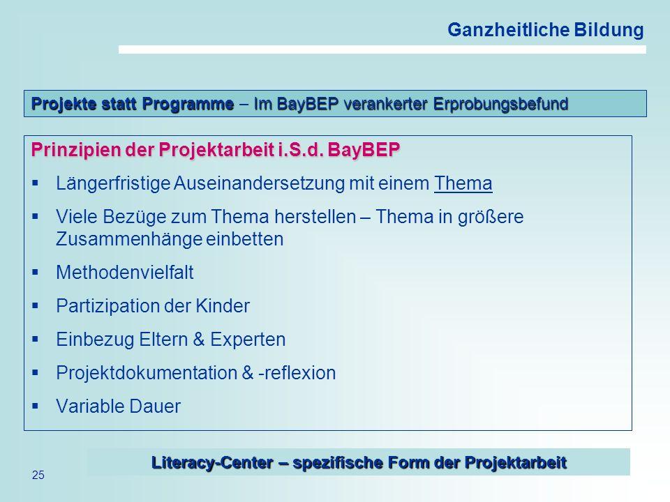 25 Ganzheitliche Bildung Prinzipien der Projektarbeit i.S.d. BayBEP Längerfristige Auseinandersetzung mit einem Thema Viele Bezüge zum Thema herstelle