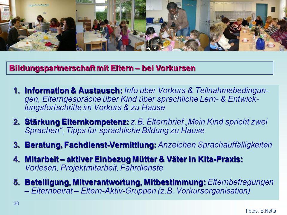 30 1.Information & Austausch: 1.Information & Austausch: Info über Vorkurs & Teilnahmebedingun- gen, Elterngespräche über Kind über sprachliche Lern-