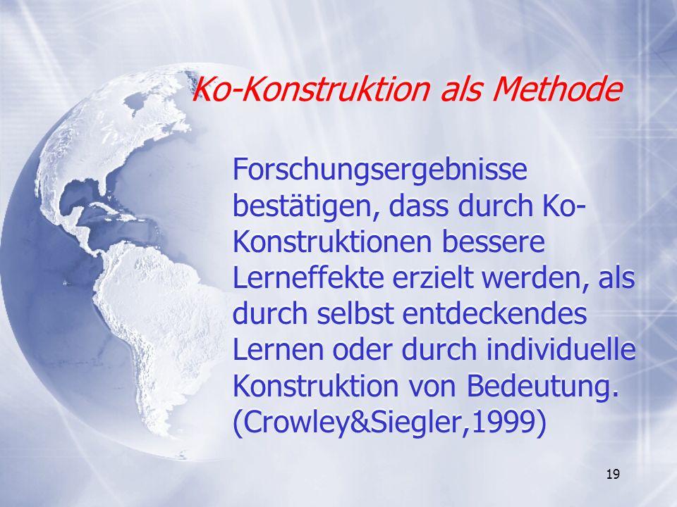 19 Ko-Konstruktion als Methode Ko-Konstruktion als Methode Forschungsergebnisse bestätigen, dass durch Ko- Konstruktionen bessere Lerneffekte erzielt