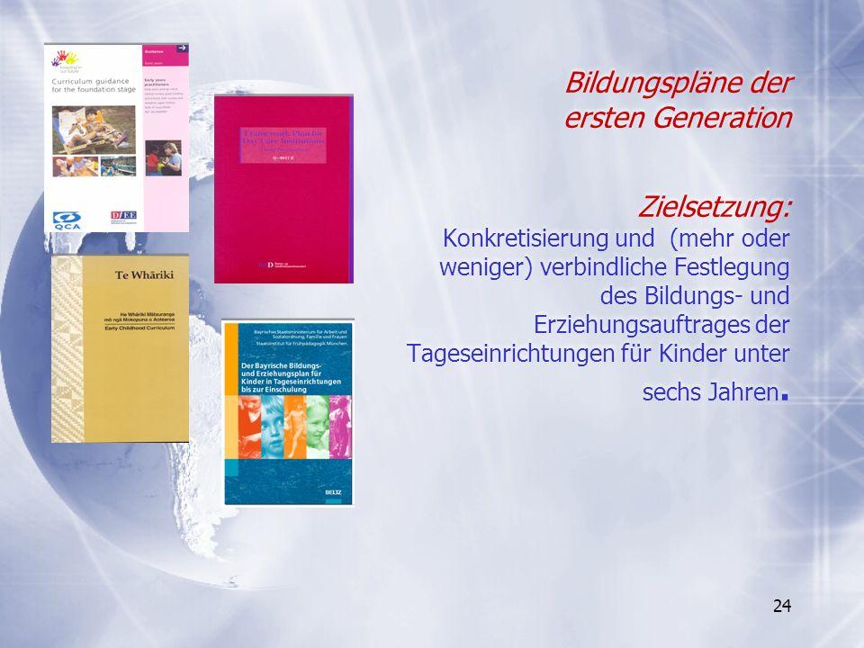 24 Bildungspläne der ersten Generation Zielsetzung: Konkretisierung und (mehr oder weniger) verbindliche Festlegung des Bildungs- und Erziehungsauftra