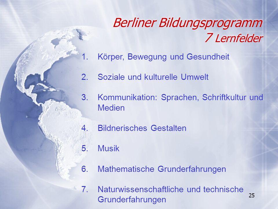 25 Berliner Bildungsprogramm 7 Lernfelder 1.Körper, Bewegung und Gesundheit 2.Soziale und kulturelle Umwelt 3.Kommunikation: Sprachen, Schriftkultur u