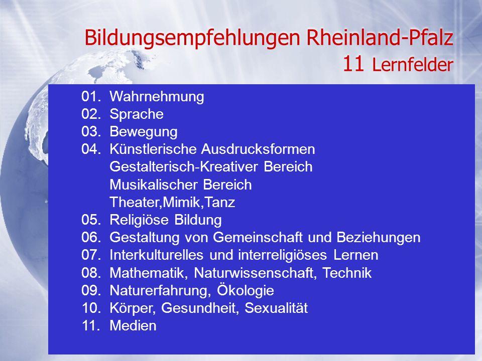 26 Bildungsempfehlungen Rheinland-Pfalz 11 Lernfelder 01.Wahrnehmung 02.Sprache 03.Bewegung 04.Künstlerische Ausdrucksformen Gestalterisch-Kreativer B