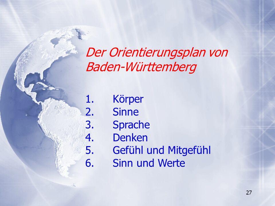 27 Der Orientierungsplan von Baden-Württemberg 1. Körper 2. Sinne 3. Sprache 4. Denken 5.Gefühl und Mitgefühl 6.Sinn und Werte